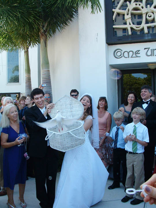 Dove release at a ft lauderdale church wedding